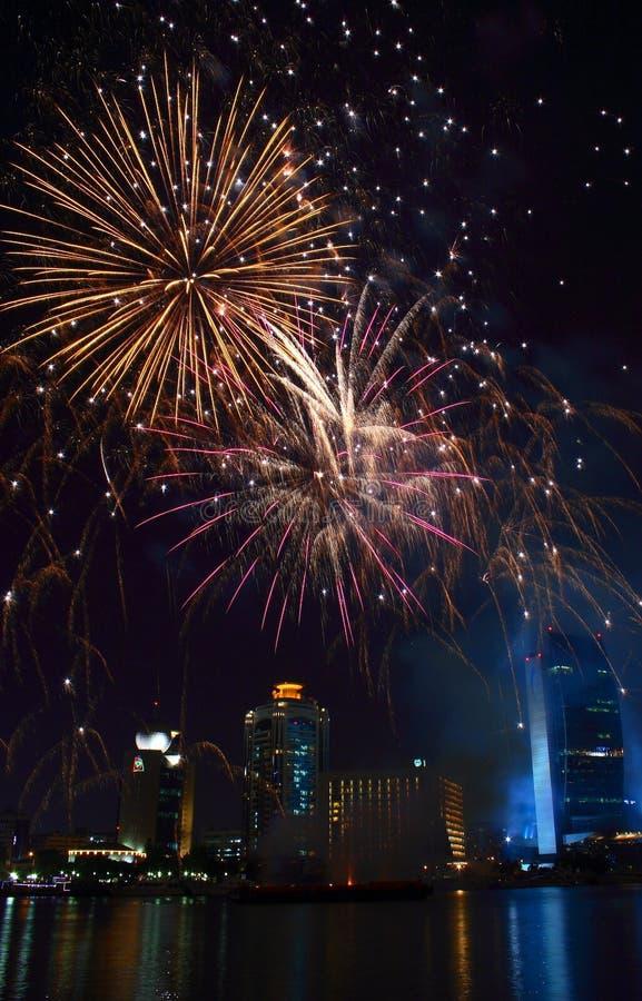 Fogos-de-artifício de Dubai imagem de stock royalty free