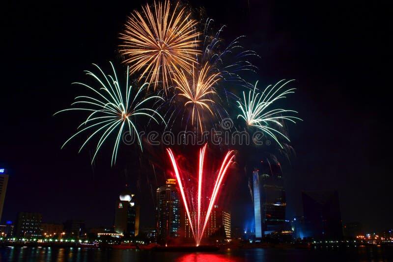 Fogos-de-artifício de Dubai fotografia de stock