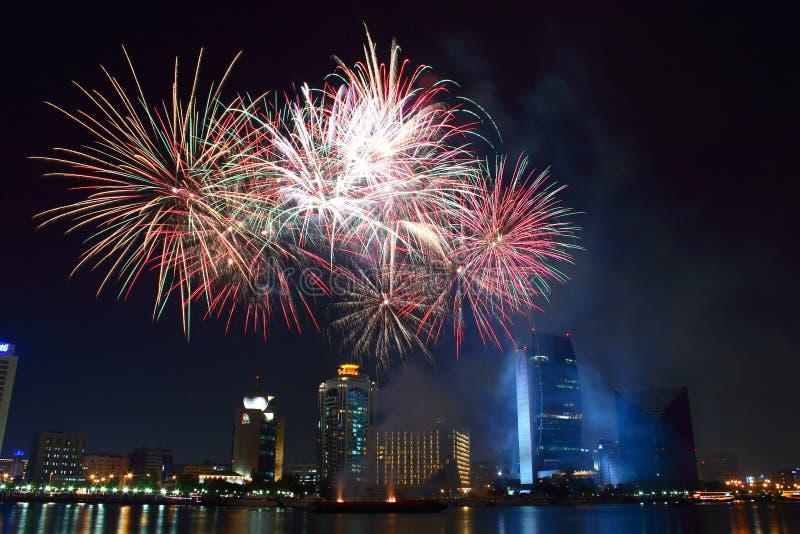 Fogos-de-artifício de Dubai imagens de stock royalty free