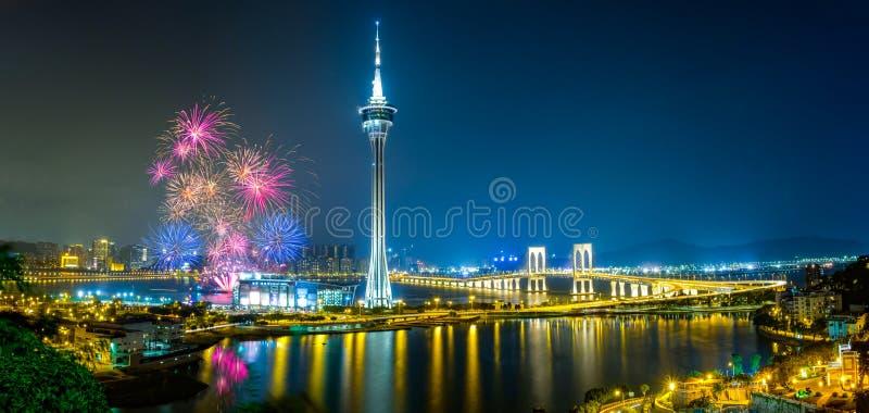 Fogos-de-artifício de Macau fotos de stock