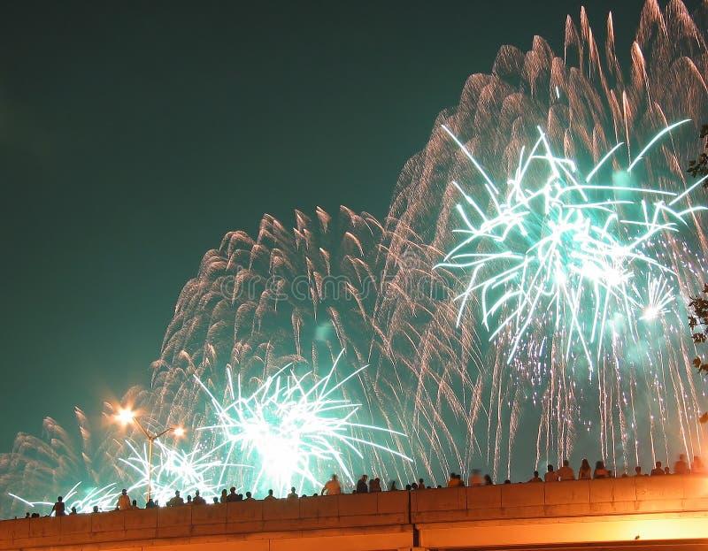 Fogos-de-artifício de New York City julho ô foto de stock