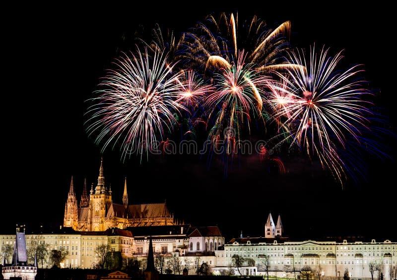 Fogos-de-artifício de Praga fotografia de stock royalty free