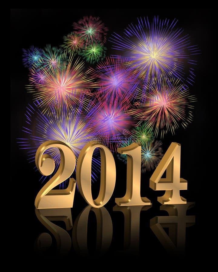 Fogos-de-artifício digitais do ano novo 2014 ilustração stock