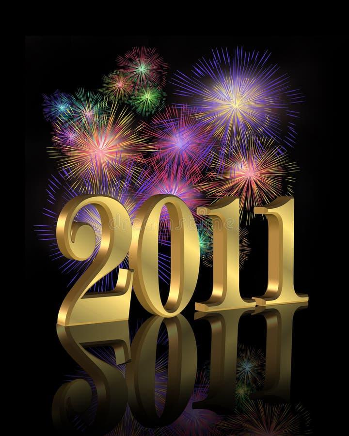 Fogos-de-artifício do ano novo 2011 ilustração do vetor