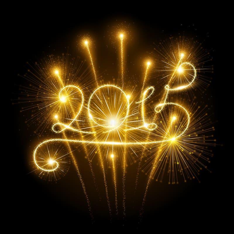 Fogos-de-artifício do ano novo 2015 ilustração royalty free