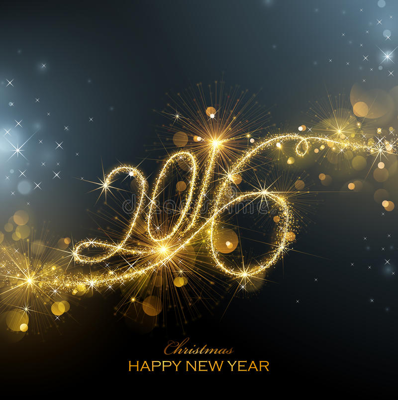 Fogos-de-artifício do ano novo 2016 ilustração stock