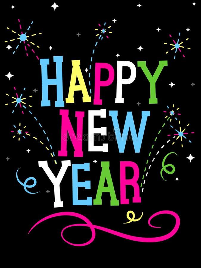 Fogos-de-artifício do ano novo feliz ilustração royalty free