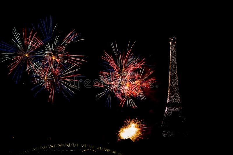 Fogos de artifício 2019 do dia de Bastille em Paris fotos de stock royalty free