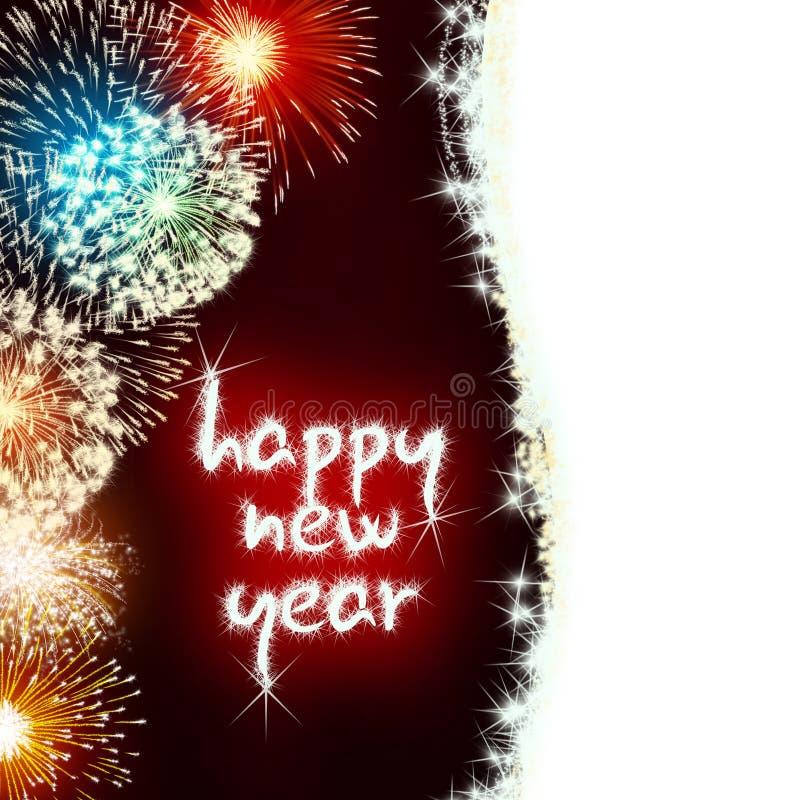 Fogos-de-artifício do fogo de artifício do ano novo feliz ilustração royalty free
