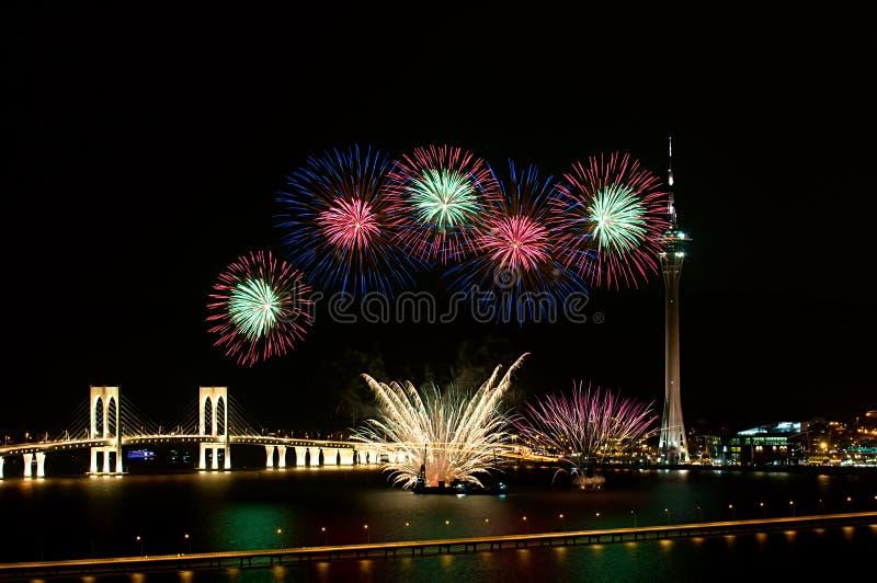 Fogos-de-artifício do International de Macau foto de stock royalty free