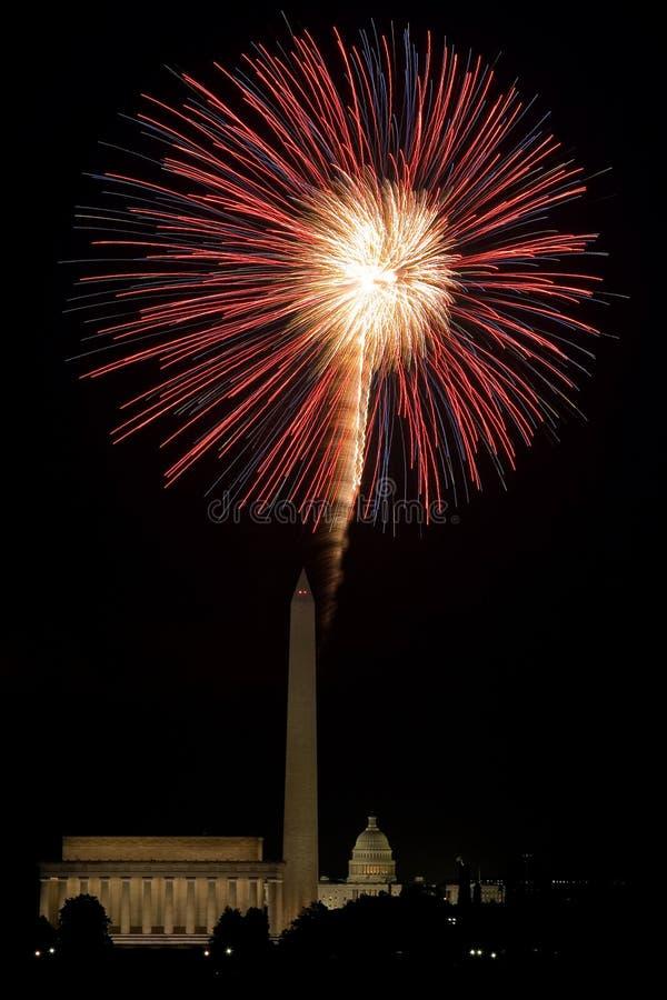 Fogos-de-artifício do Washington DC fotografia de stock