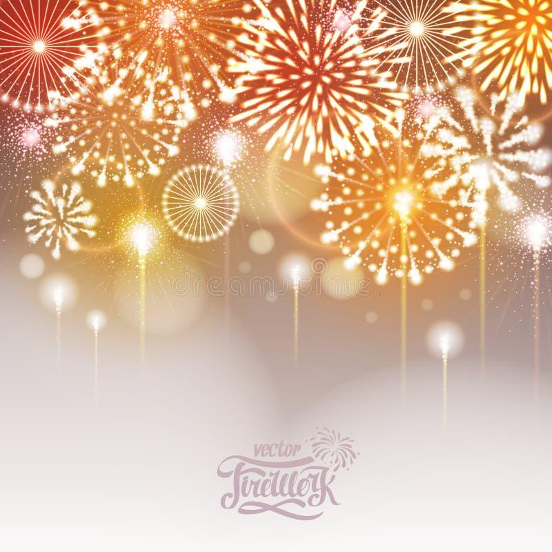 Fogos-de-artifício dourados do feriado ilustração do vetor