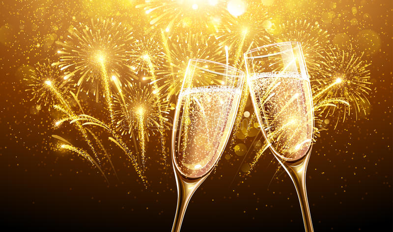 Fogos-de-artifício e champanhe do ano novo
