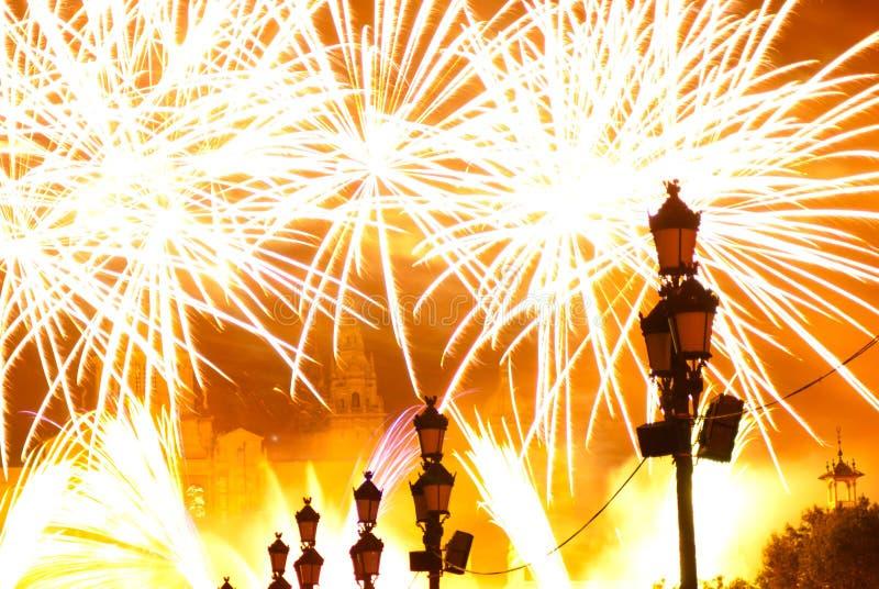 Fogos-de-artifício em Barcelona Spain imagem de stock