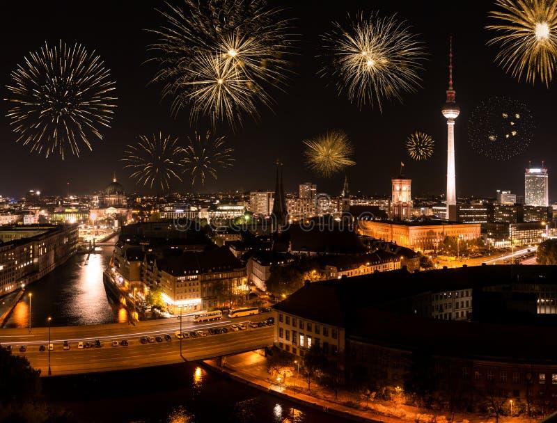 Fogos-de-artifício em Berlim fotografia de stock royalty free
