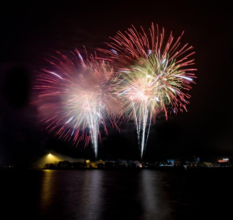 Fogos-de-artifício em Frihamnen, gothenburg sweden, 2018 imagens de stock