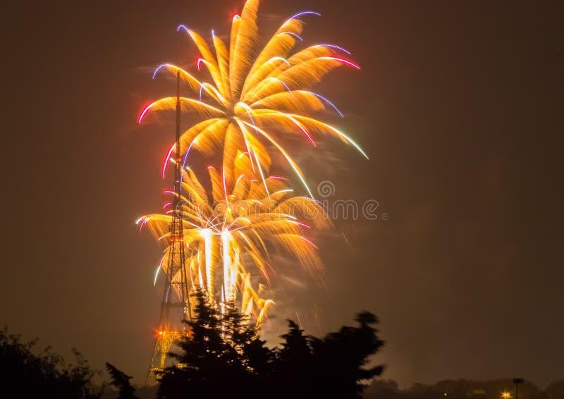 Fogos-de-artifício em Guy Fawkes Night fotografia de stock