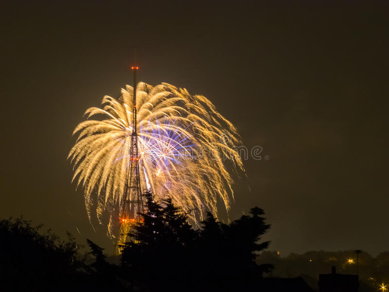Fogos-de-artifício em Guy Fawkes Night imagem de stock