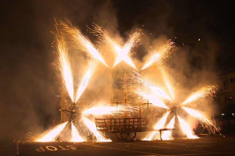 Fogos de artifício em honra do Virgin de Los Remedios de Tegueste fotos de stock royalty free