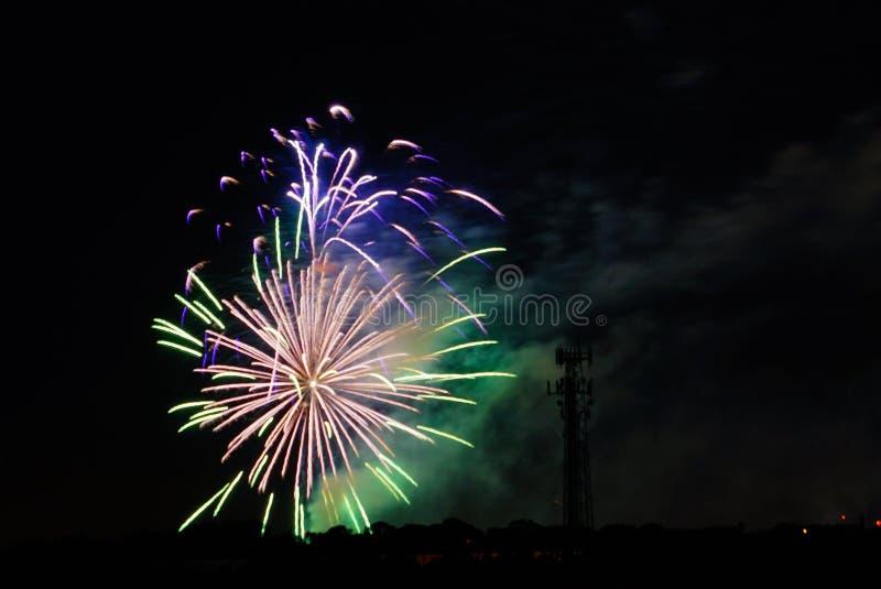 Fogos-de-artifício em Tampa fotografia de stock