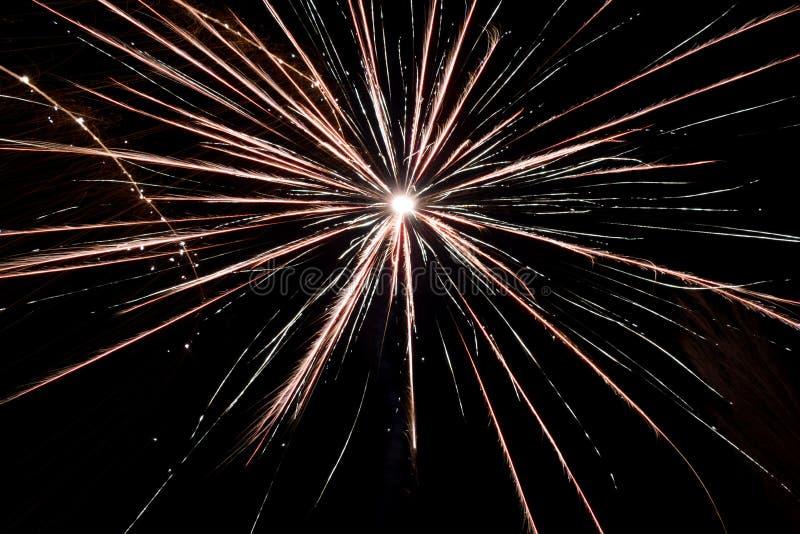 Fogos de artifício em um céu preto do fundo imagem de stock