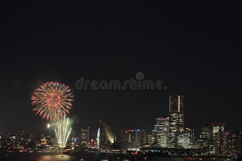 Fogos-de-artifício em Yokohama foto de stock royalty free