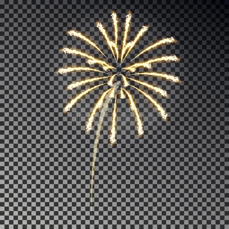 Fogos-de-artifício festivos Efeito da luz do foguete do Natal isolado no fundo escuro Decorati do fogo de artifício ilustração royalty free