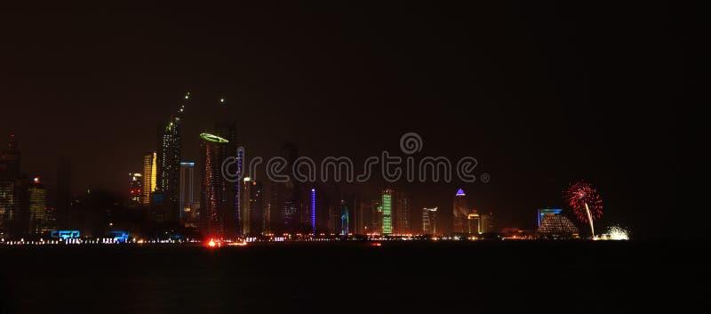 Fogos-de-artifício finais Doha fotografia de stock royalty free