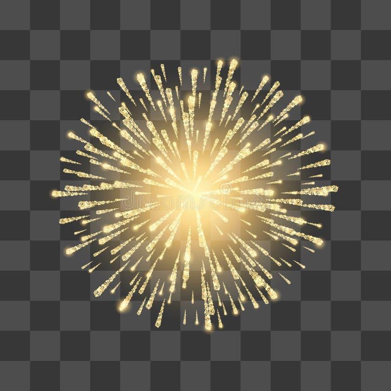 Fogos-de-artifício Fogo de artifício do ouro do festival Llustration do vetor no fundo transparente ilustração royalty free