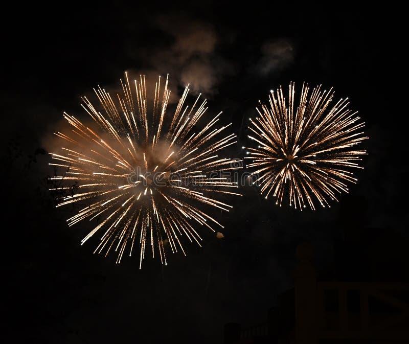 Fogos de artifício grandes brilhantes no céu fotos de stock royalty free