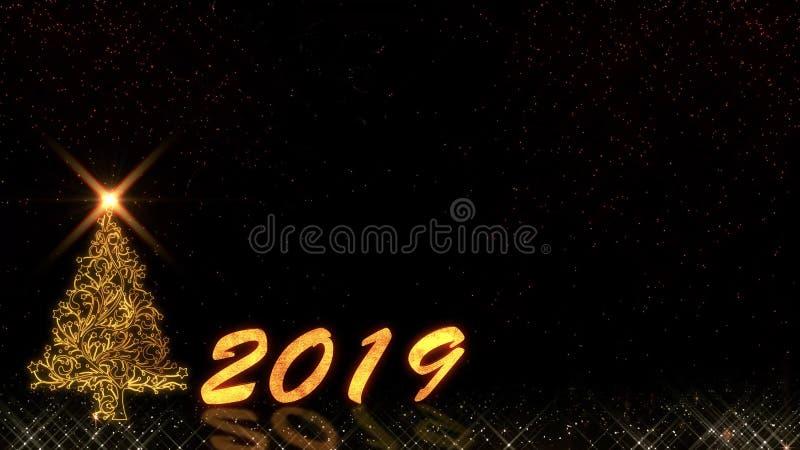 Fogos de artifício leves dourados do bokeh das partículas do brilho do ano novo feliz 2019 ilustração stock