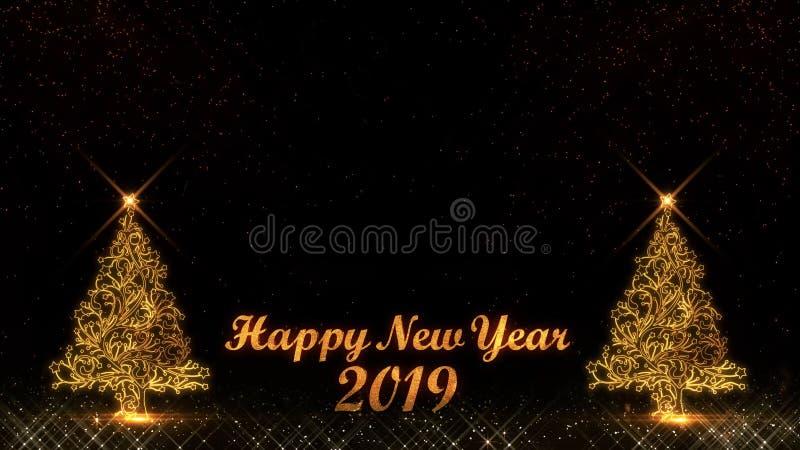 Fogos de artifício leves dourados do bokeh das partículas do brilho do ano novo feliz 2019 ilustração do vetor