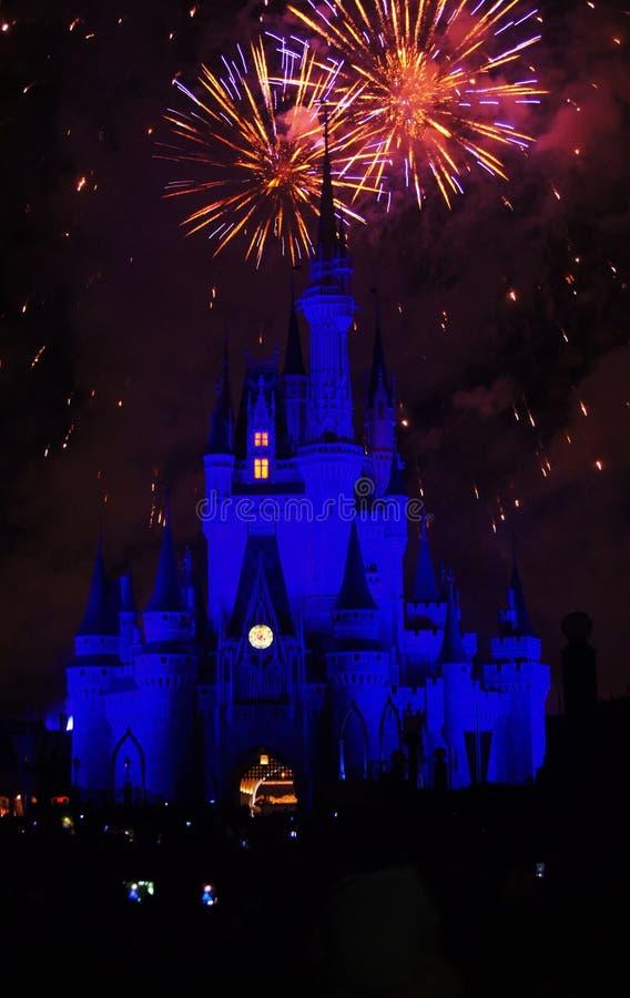 Fogos-de-artifício mágicos do reino de Disney imagem de stock royalty free