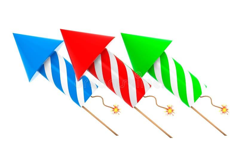 Fogos-de-artifício Multicolour Rockets rendição 3d ilustração do vetor