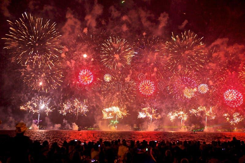 Fogos-de-artifício na Austrália Ocidental de Perth imagens de stock royalty free