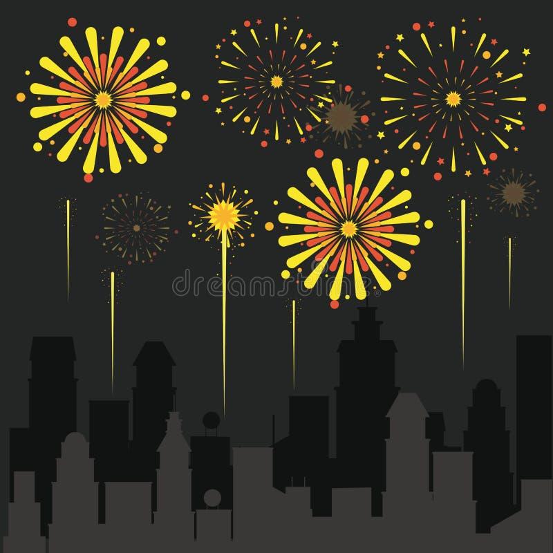 Fogos-de-artifício na cidade ilustração royalty free