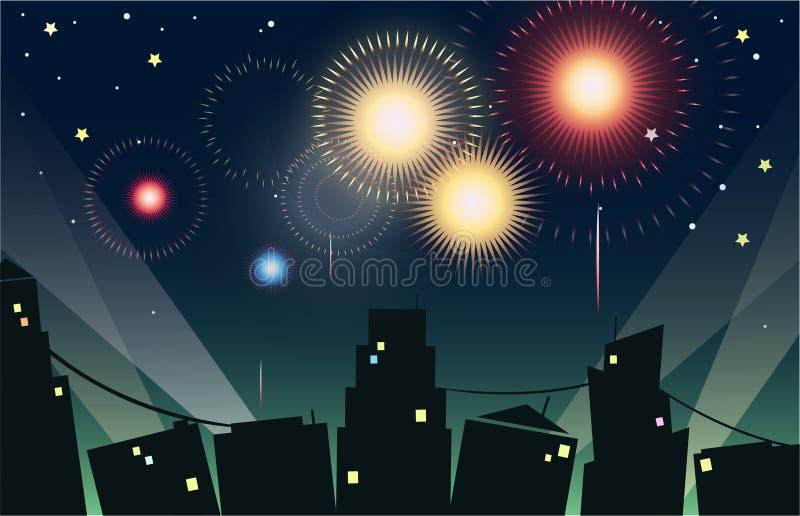 Fogos-de-artifício na cidade ilustração do vetor