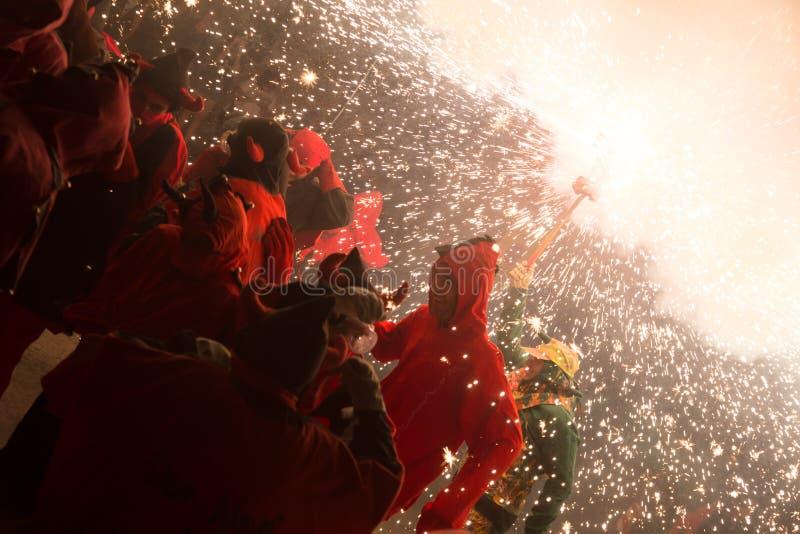 Fogos-de-artifício na festa de antonio sant imagem de stock