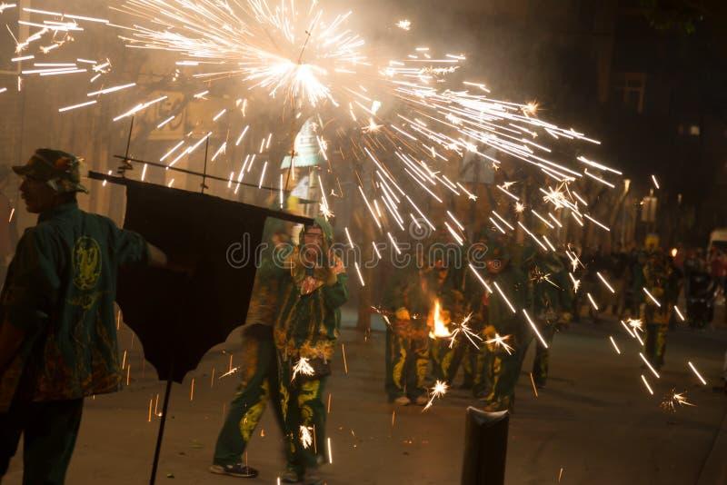 Fogos-de-artifício na festa de antonio sant fotos de stock royalty free