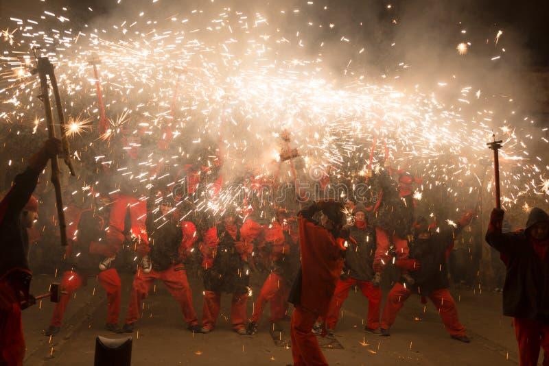 Fogos-de-artifício na festa de antonio sant fotografia de stock royalty free