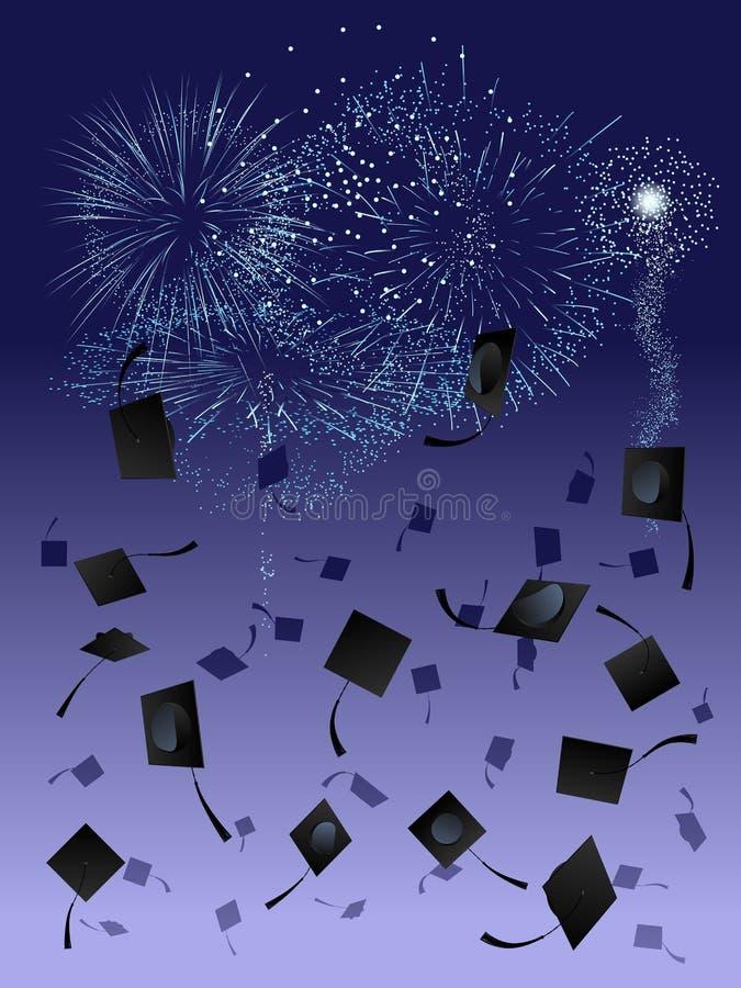 Fogos-de-artifício na graduação ilustração stock