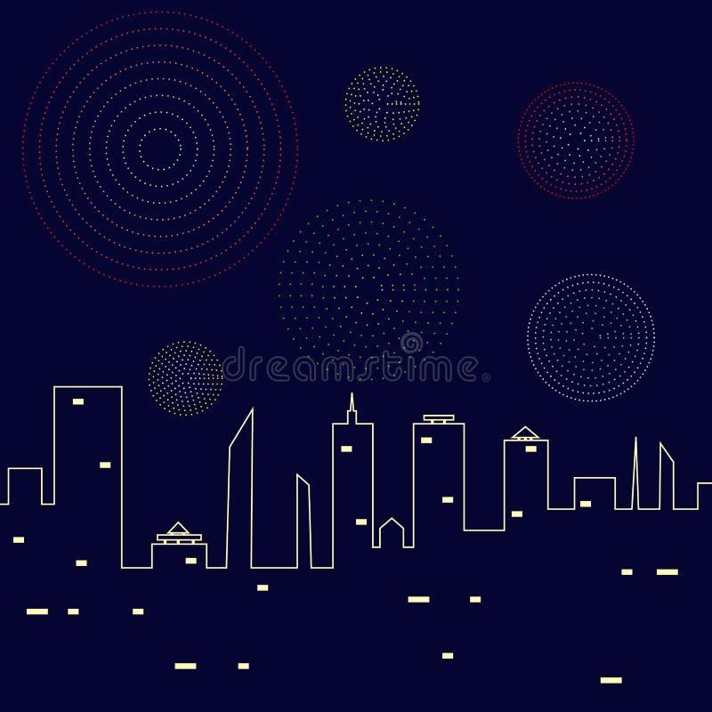 Fogos de artifício no céu noturno acima da ilustração do vetor da cidade Estrelas, skyline e saudação ilustração stock