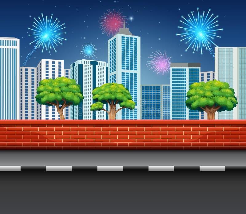 Fogos de artifício no evento da celebração com muitos fogos de artifício na opinião do céu e da cidade ilustração stock