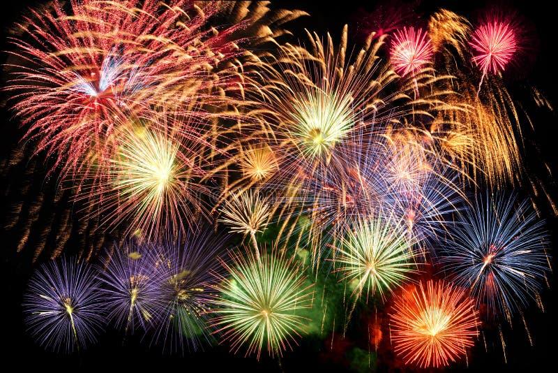 Fogos-de-artifício no final grande imagens de stock