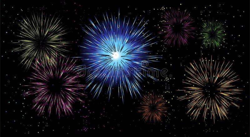 Fogos-de-artifício, noite do feriado ilustração stock