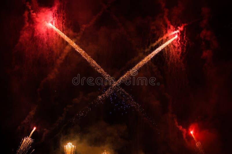 Fogos de artifício que comemoram a estação do Natal no Madri fotos de stock