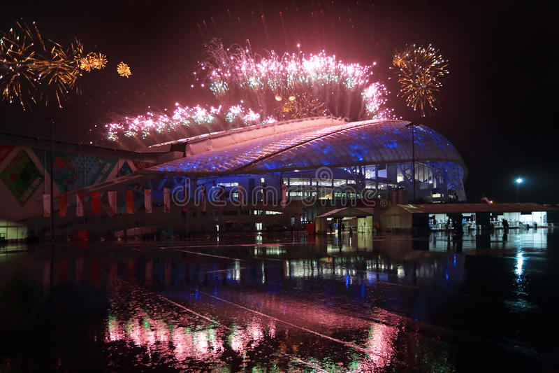 Fogos-de-artifício sobre os peixes do estádio imagem de stock royalty free