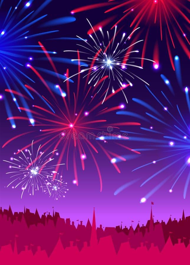 Fogos-de-artifício sobre uma cidade da noite ilustração do vetor
