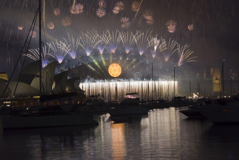 Fogos-de-artifício Sydney de NYE fotografia de stock