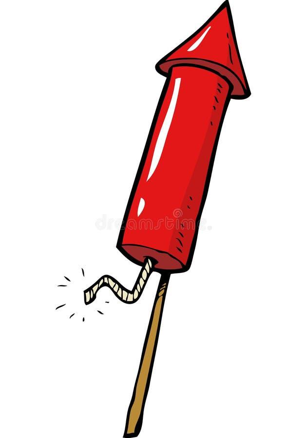 Fogos-de-artifício vermelhos do foguete ilustração royalty free
